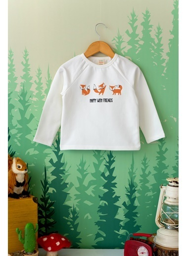 Nou Nou Forest Friends Mevsimlik Sweatshirt Ekru